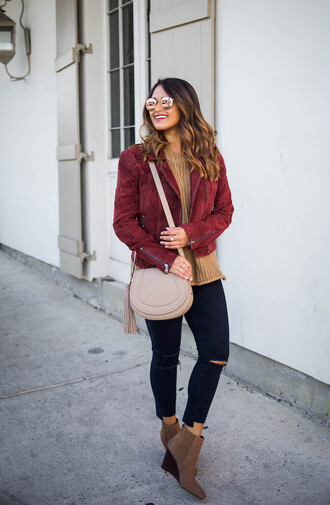 hauteofftherack blogger jewels jacket sweater tank top top suede jacket shoulder bag red jacket ankle boots