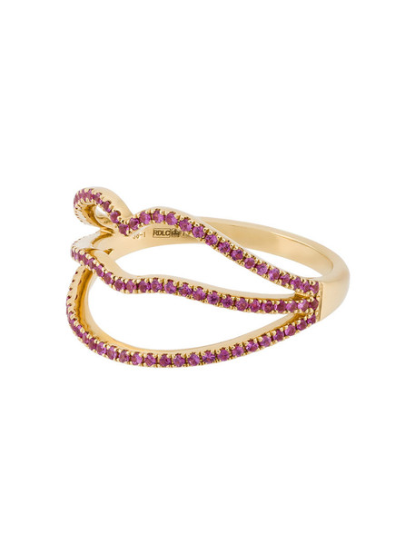 ROSA DE LA CRUZ diamond ring women lips ring gold grey metallic jewels