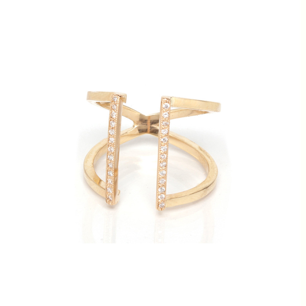Zoe Chicco — 14k pave open two bar ring