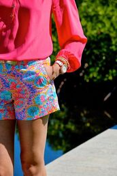 shorts,pink,summer,hot,print,tan,spring,preppy,southern charm,lily pulitzer