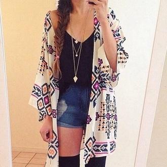blouse kimono colors tribal kimono clohes shorts jeans socks