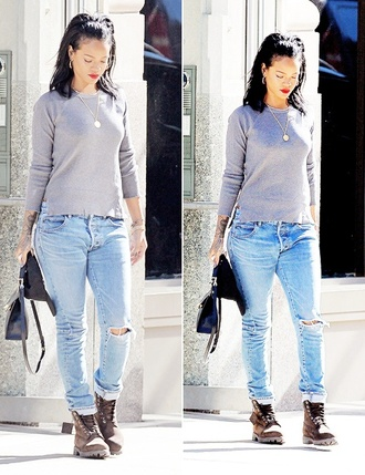 jeans boots new york city clothes timberlands rihanna jewels necklace rings and tings sweater fall outfits fashion shoes shirt