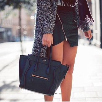 black skirt grey jacket bag cardigan leather céline bag celine black bags leather bag black skirt