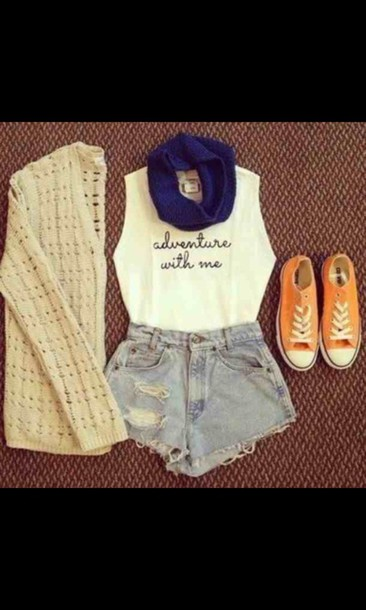 shirt cardigan shoes scarf short peri.marie