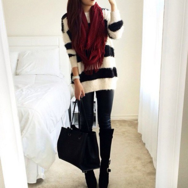 Scarf: black and white striped sweater, burgundy scaf - Wheretoget