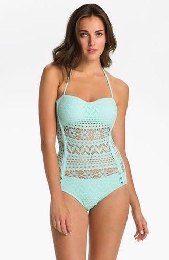 swimwear mint one piece swimsuit pastel lace dress