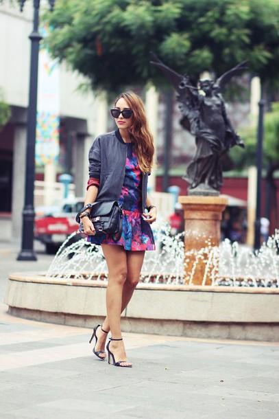 preppy fashionist blogger floral dress bomber jacket mini skirt