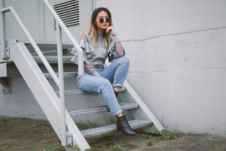oh may god blogger sweater jeans belt jacket sunglasses shoes ruffle ankle boots grey sweater spring outfits