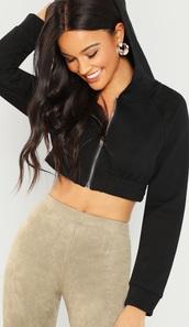 sweater,girly,girl,girly wishlist,black,cropped,crop,cropped sweater,hoodie,cropped hoodie,zip