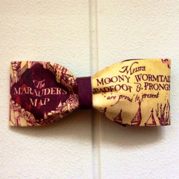 hair bow hair accessories red harry potter marauders map