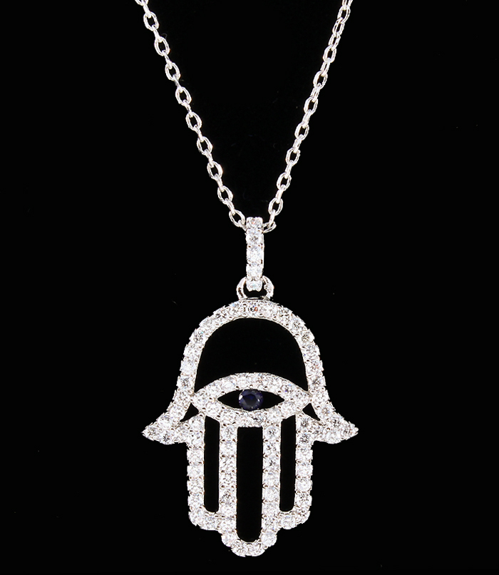 Outlined Hamsa Evil Eye Cubic Zirconia Necklace