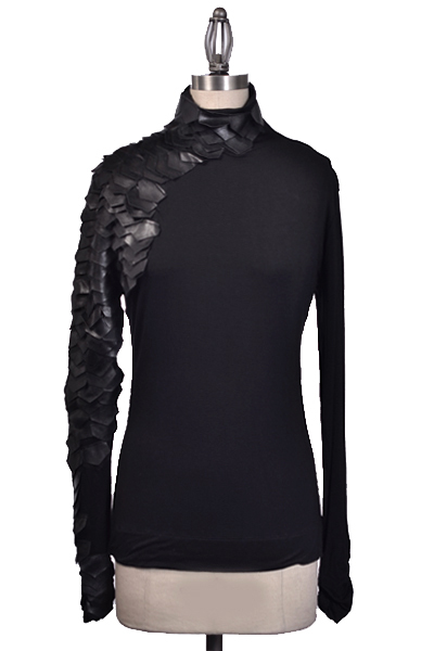 *Restocked* Celebrity Black Asymmetrical Leather Scale Sleeve Turtleneck Sweater