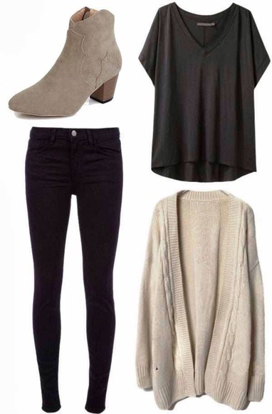 black jeans cardigan sand boots sand cardigan black slouchy top