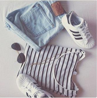 shorts high waisted jean shorts adidas shoes adidas originals striped shirt sunglasses summer outfits
