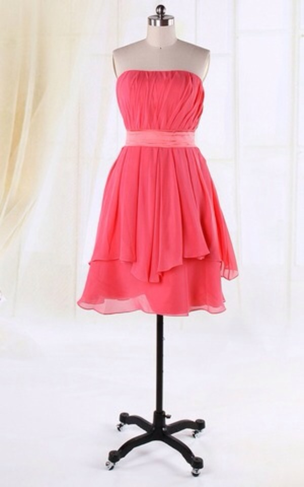 dress pink knee length silk ribbon