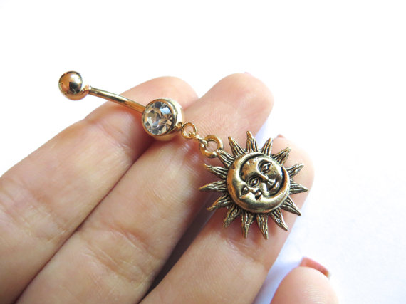 Belly Button Ring Jewelry Celestial Belly Button Ring Golden Moon And Sun Belly Button Ring Jewelry Gold Charm Dangle Belly Ring Navel