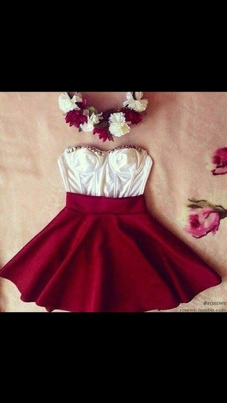 shirt red skirt red skirt white crop tops high waist skirts white crop tops