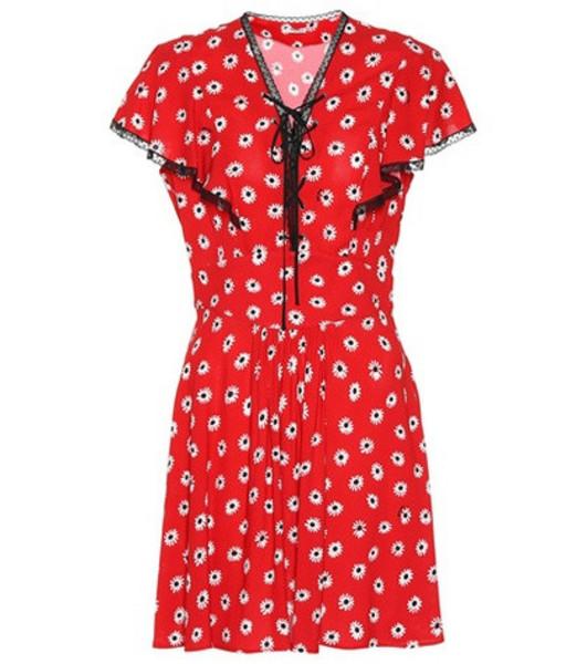 Miu Miu Floral crêpe minidress in red