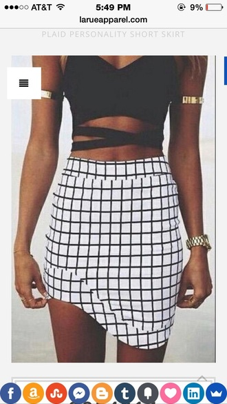skirt plaid plaid skirt white black white skirt black skirt black and white midi skirt mini skirt fashion teen girl