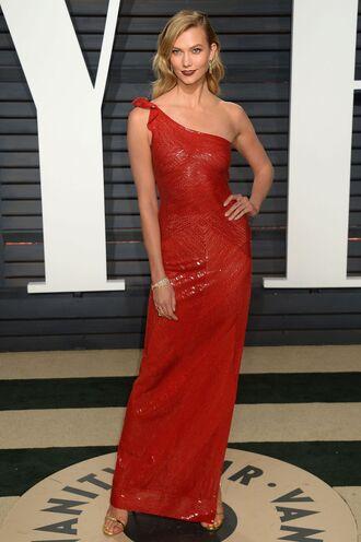 dress red dress red one shoulder karlie kloss model off-duty oscars oscars 2017 gown prom dress