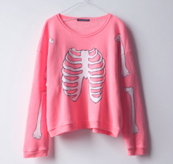 bones skeleton pastel goth pullover goth rib cage sweater crewneck simple kawaii adorable bubblegum colorful
