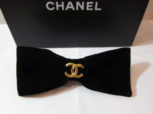 "Huge 5 "" Chanel Bow Barrette Hair Brooch Black x Gold 