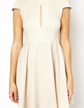 Ginger Fizz | Ginger Fizz High Neck Lace keyhole Skater Dress at ASOS