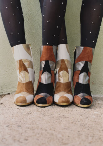 shoes rodarte patchwork leather boots suede boots ankle boots