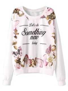 White floral and letter print long sleeve sweatshirt