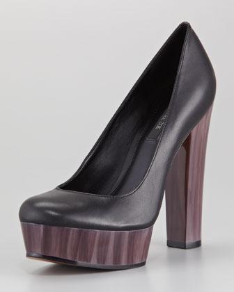 Rachel Zoe Leila Leather and Painted Heel Platform Pump - Neiman Marcus