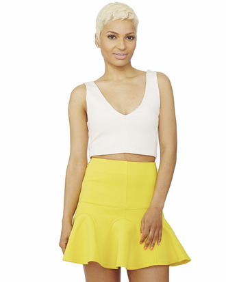 yellow skirt skater skirt neon yellow skirt