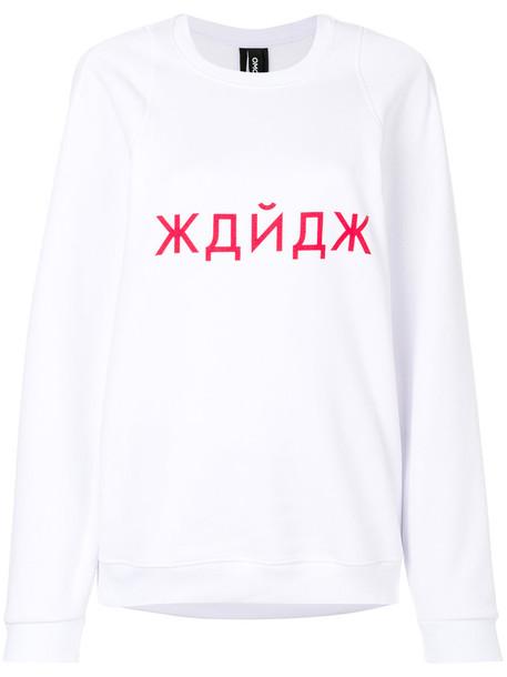 Omc - printed fitted sweatshirt - women - Cotton - M, White, Cotton