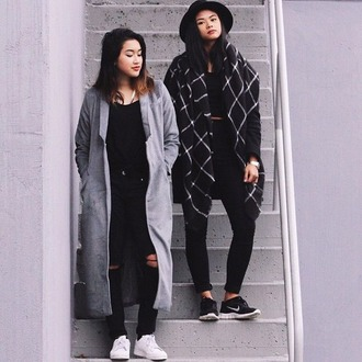 coat grunge pale pale grunge soft soft grunge hipster indie black checkered style checked coat grid long coat grey coat blanket scarf