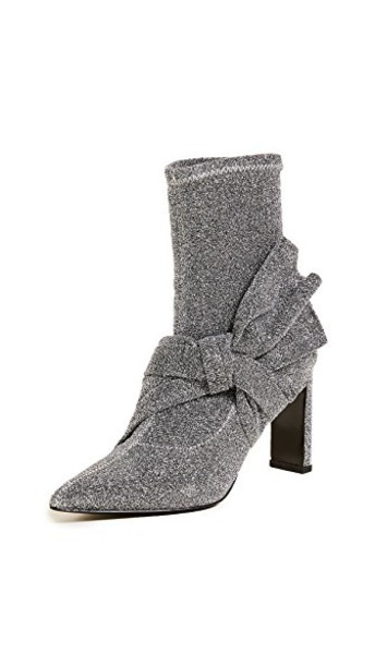Sigerson Morrison bow booties silver shoes