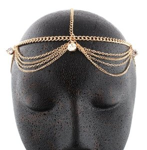 Amazon.com: Gold Metal Head Chain with Studs: Jewelry