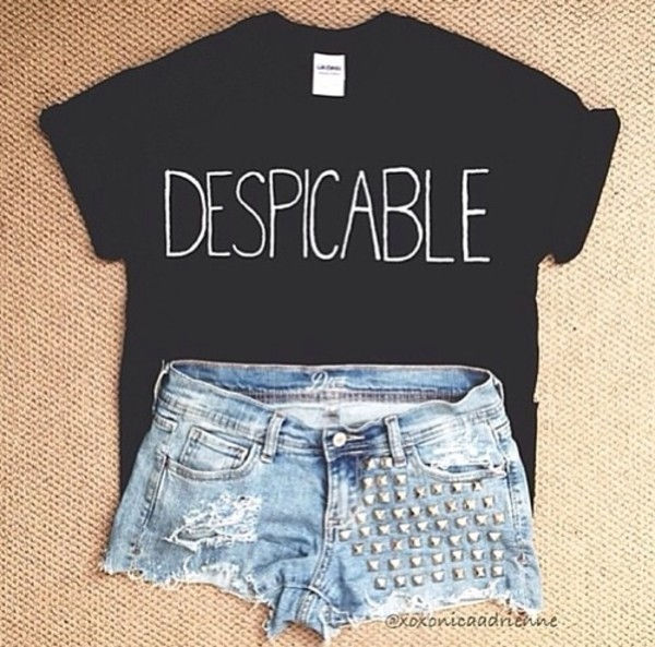 shirt despicable t-shirt t-shirt black white graphic tee shorts