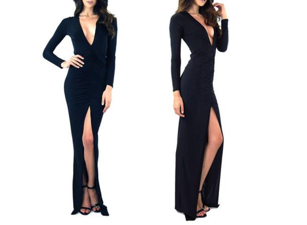 Deep v maxi dress long sleeve