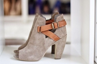 shoes grey felt boots booties cut-out open toes open toed boots buckles brown brown buckles metal heels heel boots high heeled boots heeled booties high heeled booties open toed shoe high heels open toe high heels