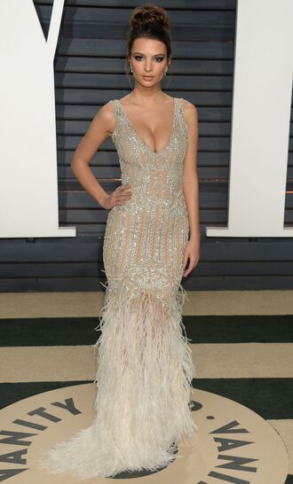 dress gown red carpet dress emily ratajkowski model off-duty feathers beaded dress sparkly dress oscars 2017 diamonds oscars