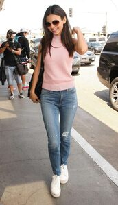 top,turtleneck,victoria justice,blush pink,baby pink,sneakers,jeans