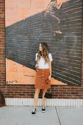merrick's art // style + sewing for the everyday girl,blogger,shoes,skirt,t-shirt,bag,vans,sneakers,button up skirt,fall outfits,crossbody bag