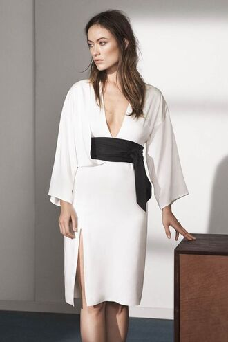 dress white dress olivia wilde kimono waist belt