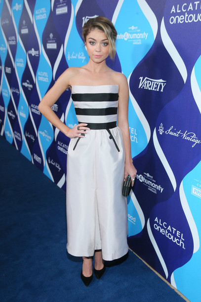 dress strapless sarah hyland pumps gown prom dress shoes