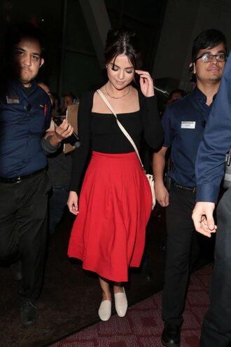 skirt red skirt midi skirt red selena gomez flats top long sleeves shoes