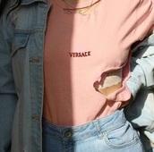 shirt,t-shirt,pink top,versace,pink,ripped