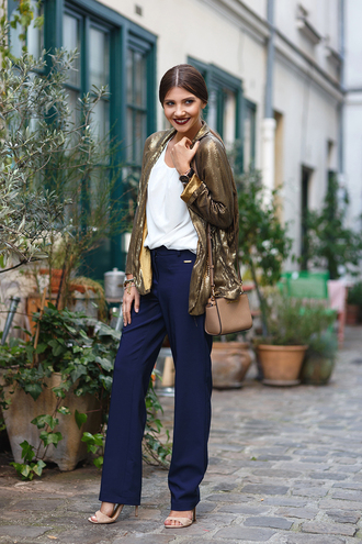 the mysterious girl blogger top pants jacket shoes bag jewels