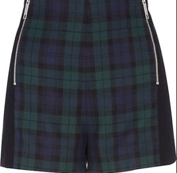 shorts green plaid