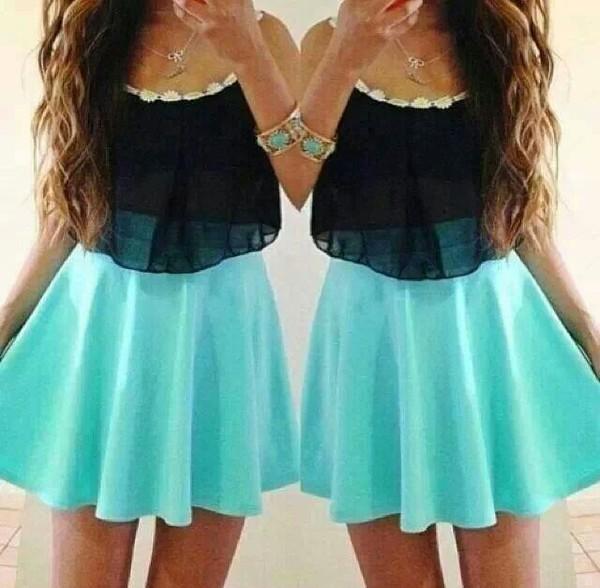 dress shirt skirt mint black