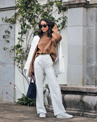 sweater tumblr knit knitwear knitted sweater brown sweater pants white pants wide-leg pants coat white coat sunglasses sneakers white sneakers work outfits