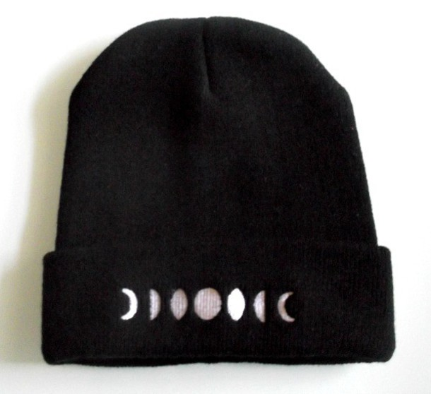 jewels moon moon phases beanie hat grunge full moon black white boho beanie alternative alternative alternative grunge wishlist grunge accessories Accessory style fashion indie crescent moon lunar lune boho chic hippie hippie chic gypsy wishlist fall outfits winter outfits